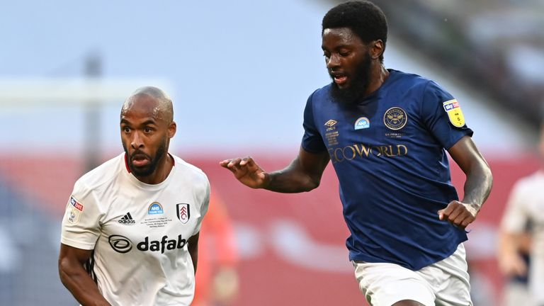 Brentford midfielder Josh Dasilva (right) has been called up for the first time
