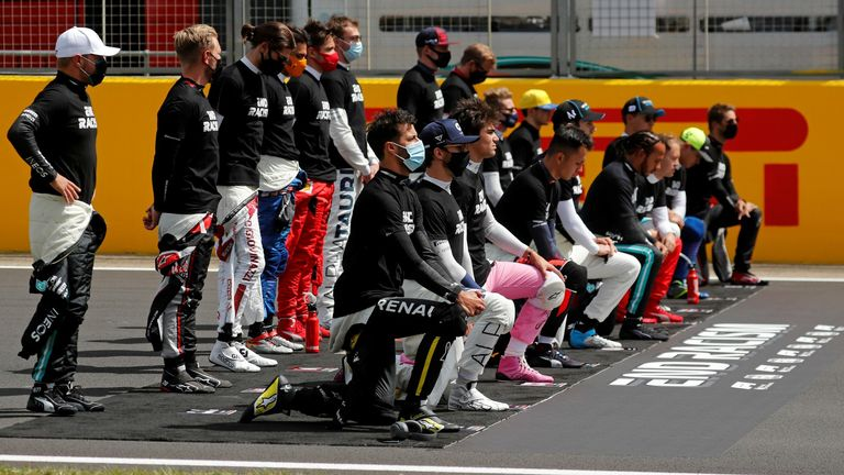 The teams and drivers displayed their support for the campaign to end racism ahead of the British Grand Prix