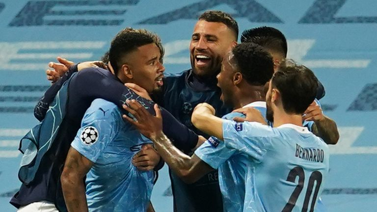 Gabriel Jesus celebrates his goal against Real Madrid