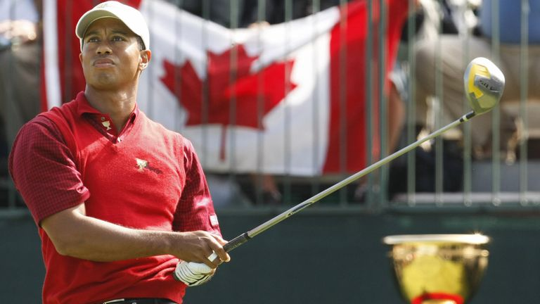 Tiger Woods in action at the 2007 Presidents Cup in Montreal