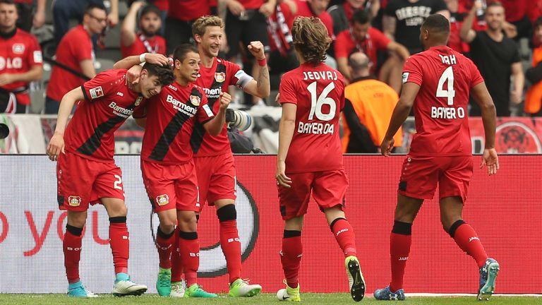 Havertz celebrates scoring against Hertha Berlin in Korkut's final game