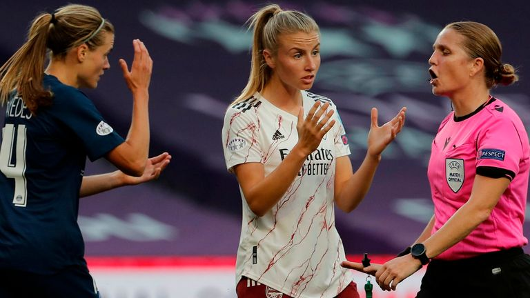 Leah Williamson contests a decision during the Champions League quarter-final defeat to PSG