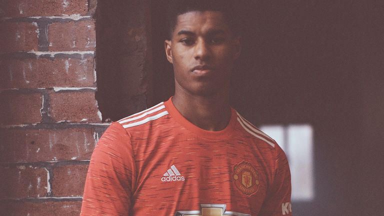 Marcus Rashford wears the new Manchester United home kit