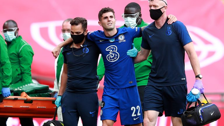 Chelsea's Christian Pulisic limped off during the second half of the FA Cup final against Arsenal