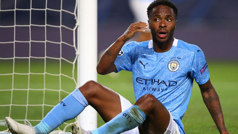 Raheem Sterling played in Man City's semi-final defeat to Lyon