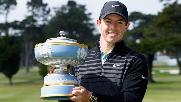Rory McIlroy lifts the Walter Hagen Cup after his Match Play success in 2015