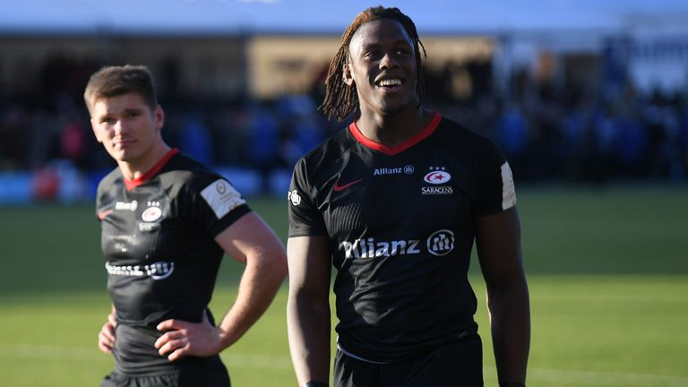 England players Maro Itoje and Owen Farrell are staying with Saracens next season despite their demotion to the Championship