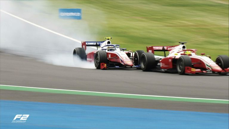 Mick Schumacher collides with Prema Racing teammate Robert Shwartzman during the final stages of the F2 Sprint Race from Silverstone.