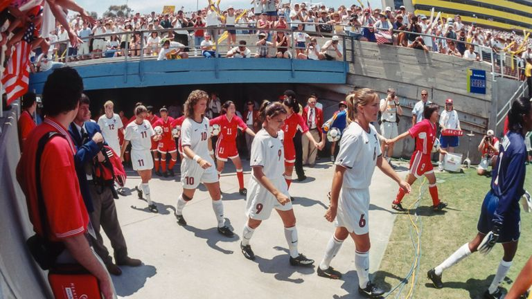 The USA beat China on penalties to win the 1999 Women's World Cup at the Rose Bowl in Pasadena, California