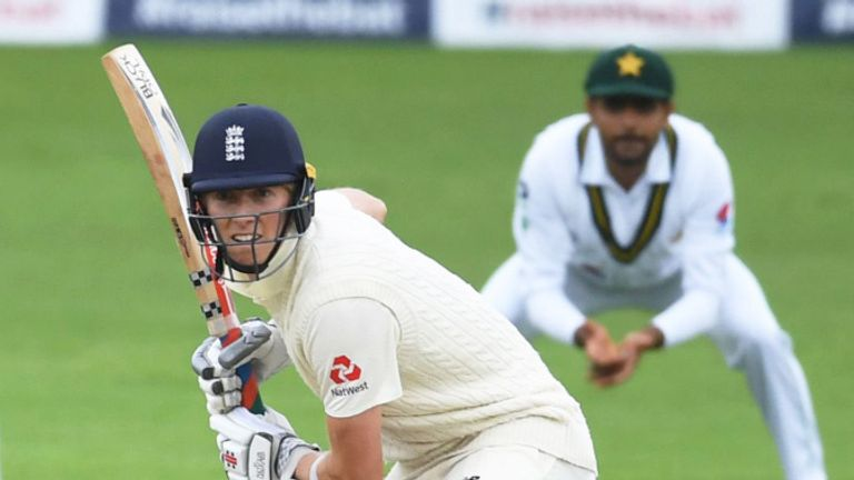Zak Crawley survived on lbw review and will resume on five not out when the weather allows