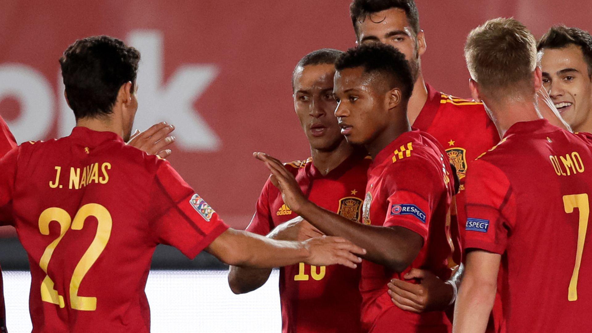 Fati stars in Spain win, Germany held by Swiss