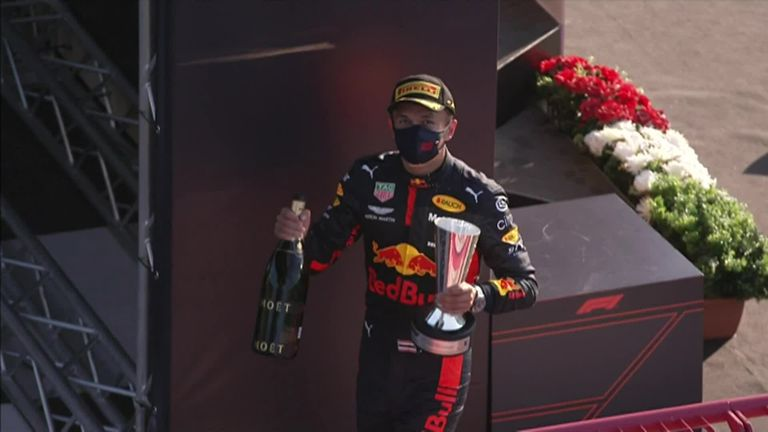 Christian Horner says Alex Albon is showing strength after claiming his first F1 podium at the Tuscan GP.