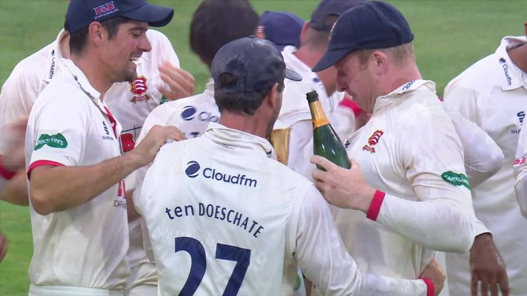 Essex players celebrate after winning the Bob Willis Trophy