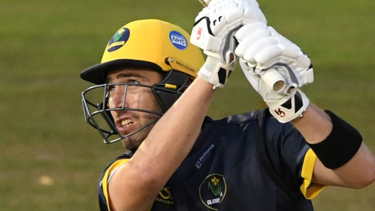 Glamorgan batsman Andrew Balbirnie hits out against Gloucestershire