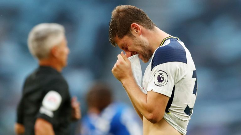 Ben Davies shows his frustration as Tottenham are beaten