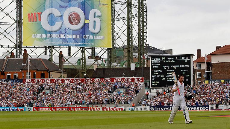 Bell leaves the field following his career best 235 against India at the Oval in 2011