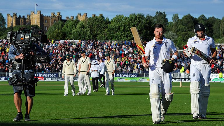 Bell walks off following his ton against Australia at Durham in 2013