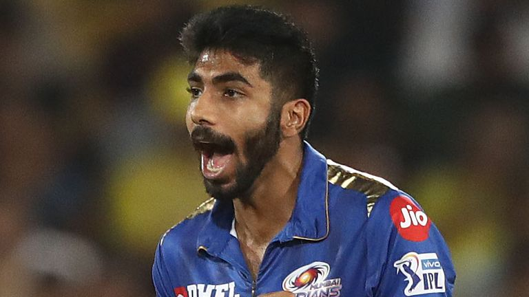 Mumbai Indians' Jasprit Bumrah celebrates a wicket during the 2019 final against Chennai Super Kings