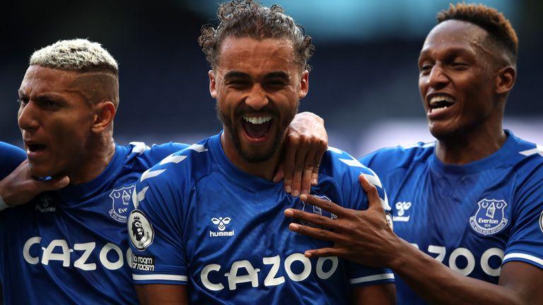 Everton's Dominic Calvert-Lewin (centre) celebrates scoring