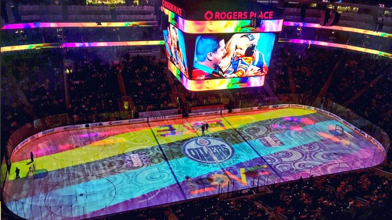 Pride Night at Rogers Place, the home of the NHL's Edmonton Oilers (picture: You Can Play)