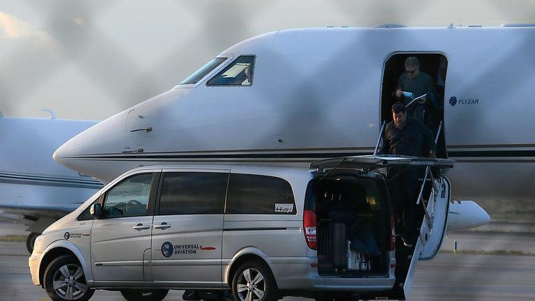 Jorge Messi arrives at Barcelona-El Prat airport on a private jet
