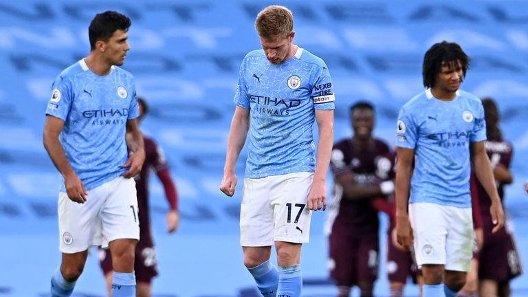 Manchester City players were left dejected by the 5-2 defeat to Leicester