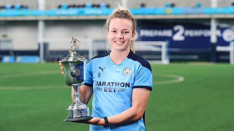 Manchester City's Lauren Hemp was named the women's young player of the year