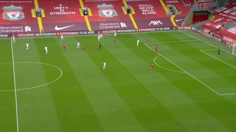 Ayling follows Mane (on the ball) into the Liverpool right-back area