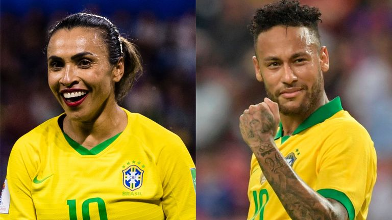Marta and Neymar will be paid equally by Brazil