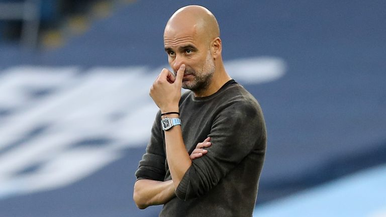Pep Guardiola during Man City's 5-2 home defeat to Leicester City