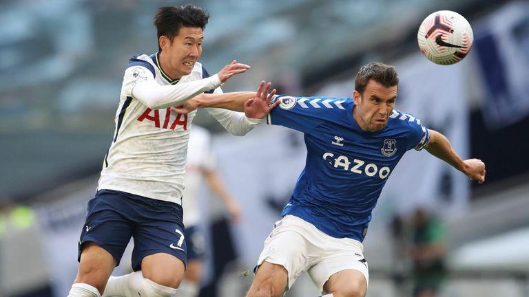 Seamus Coleman is put under pressure by Son
