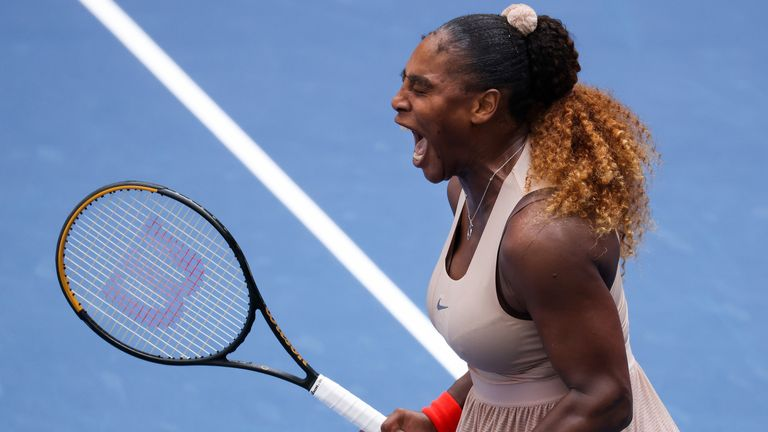 Serena Williams remains on course for a seventh US Open title with a win over Maria Sakkari - her 100th win on Arthur Ashe court