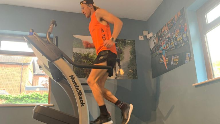Evans completed the three peak challenge on his treadmill in the fastest known time
