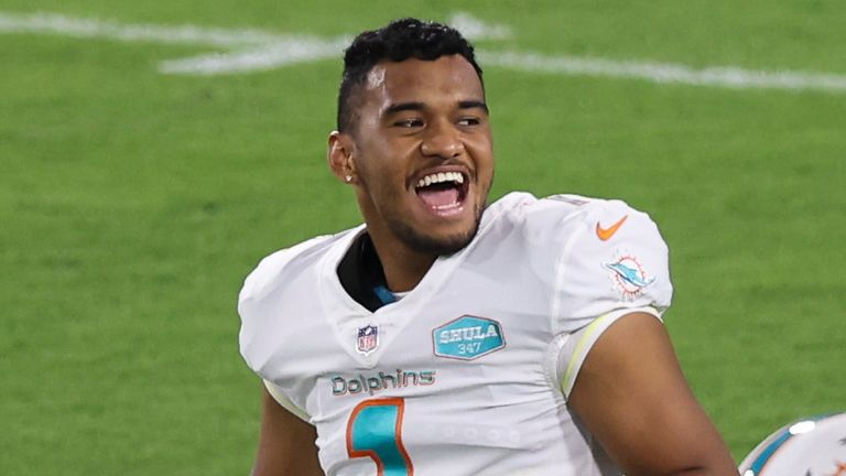 Rookie QB Tua Tagovailoa is all smiles ahead the Miami Dolphins' win over the Jacksonville Jaguars on Thursday night