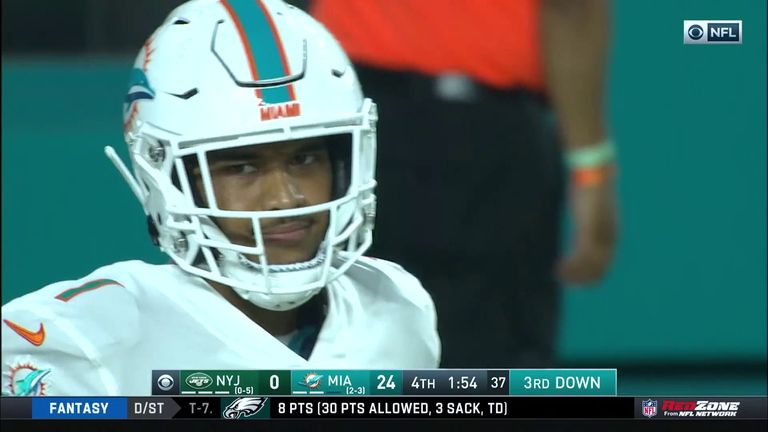Tagovailoa completes his first pass in the NFL after replacing Fitzpatrick for the Dolphins