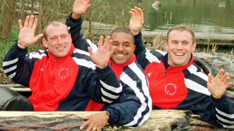 Olsson, Ward and Attwood on the Loggers Leap ride at Thorpe Park - the team were using a practice starting facility at the Park ahead of the Games