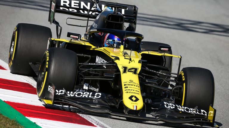 Fernando Alonso during his first outing in Renault's 2020 car in Spain for a filming day