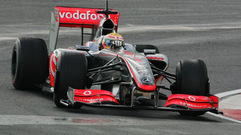 Lewis Hamilton testing for McLaren at a wet Algarve circuit in January 2009