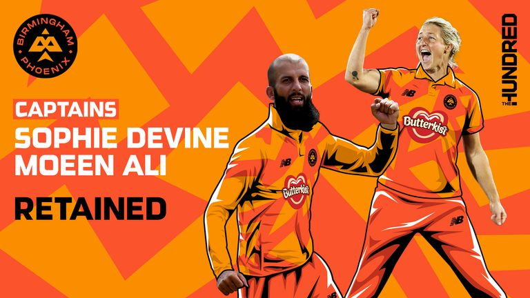 Moeen Ali and Sophie Devine have been retained as Birmingham Phoenix captains for The Hundred