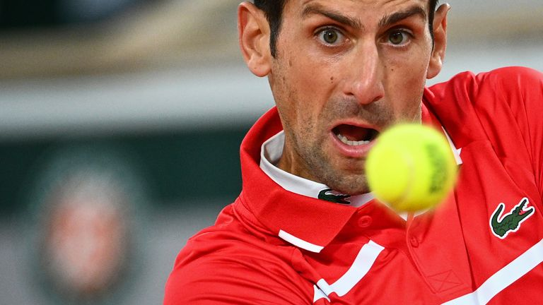 Djokovic in action during the French Open final against Rafael Nadal