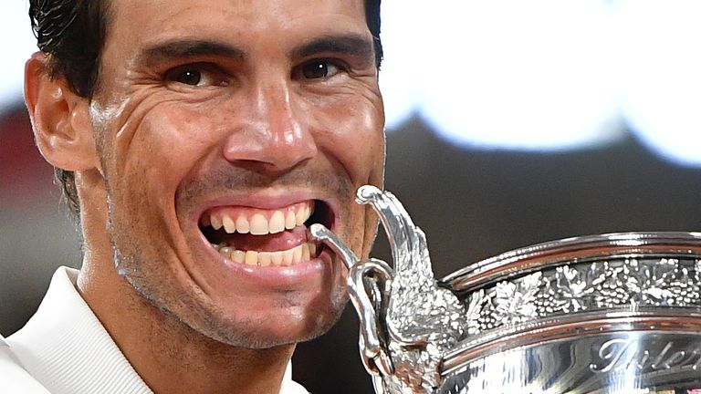 Rafael Nadal says 'it means a lot' to equal Roger Federer's record of 20 Grand Slam men's titles after he won a 13th French Open