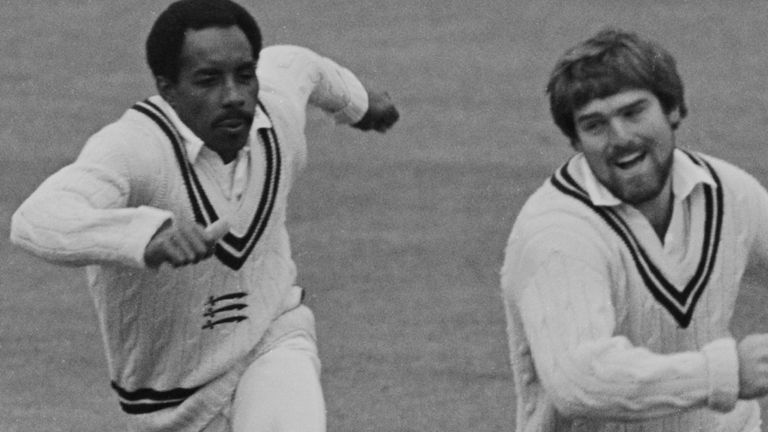 Butcher and his former captain Mike Gatting in action for Middlesex during a County Championship match against Kent
