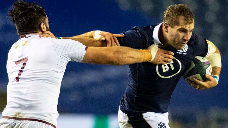 Scotland captain Fraser Brown scored two of his side's eight tries