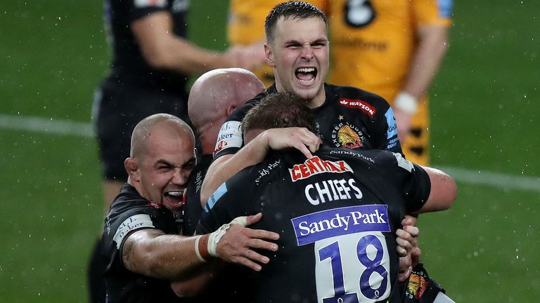 Exeter Chiefs celebrate their Premiership final win over Wasps
