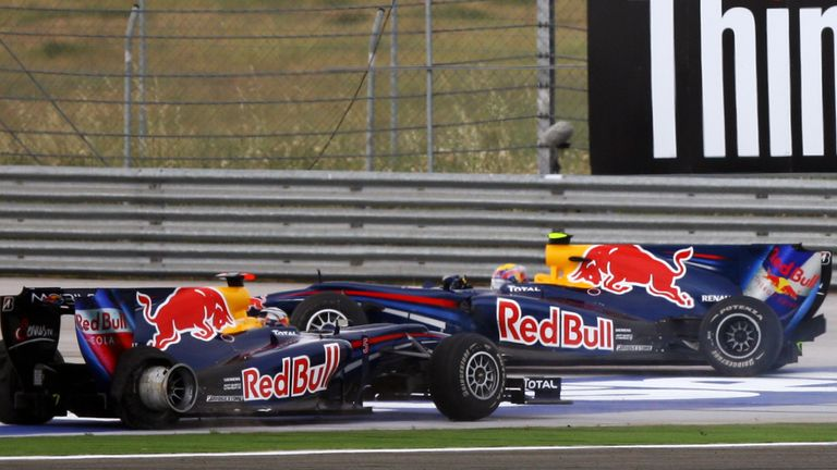 How it ended for Red Bull team-mates Mark Webber and Sebastian Vettel as they battled for the lead in 2010. Vettel was out on the spot, with Webber salvaging third
