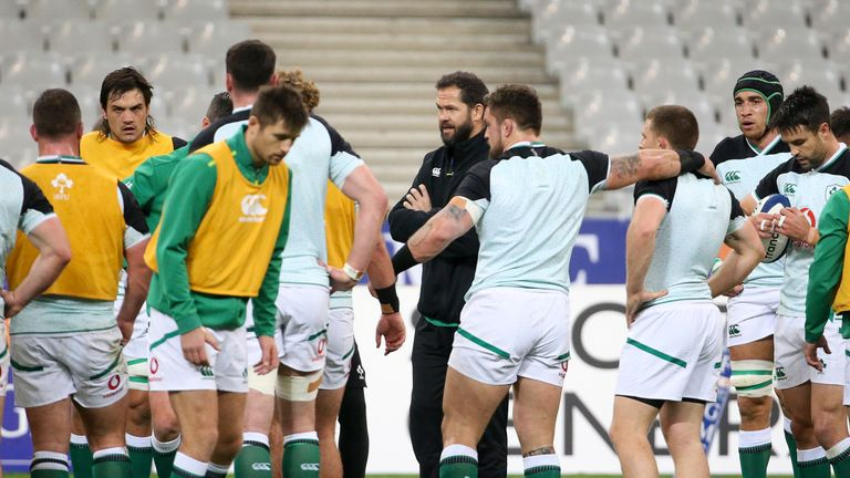 Ireland coach Andy Farrell during a training session with his team