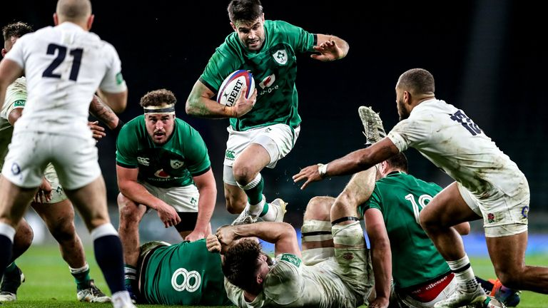 Ireland scrum-half Conor Murray takes on the English defence at Twickenham