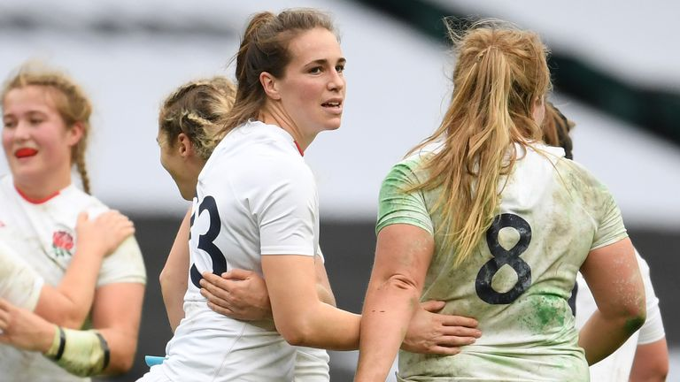 Emily Scarratt celebrates her match-winning penalty as the Red Roses stole victory from the jaws of defeat