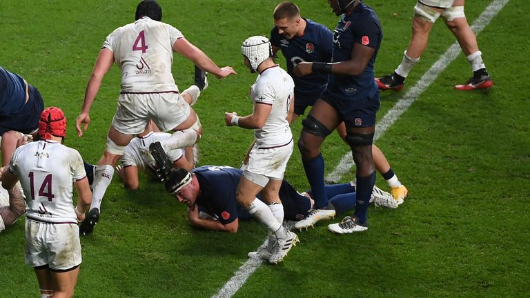 George scored England's second and third tries via rolling mauls