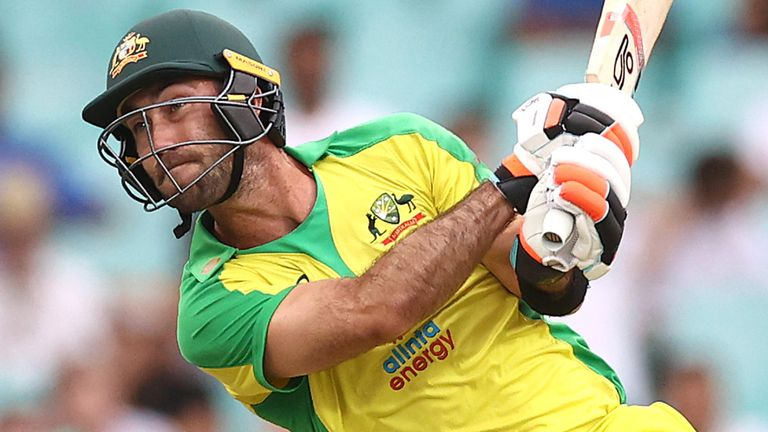 Glenn Maxwell's unbeaten 63 from 29 balls lifted Australia to 389-4, their highest ODI total at Sydney